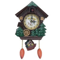 Forma de la casa 8 pulgadas reloj de pared reloj de cuco Vintage Bird Bell Timer Sala de estar Péndulo Craft Art Home Decor