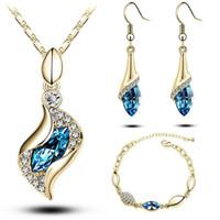 Sistemas de la joyería pendientes de la pulsera del Rhinestone Collar plateado oro de Austria cristal Ángel Elf regalos para muchachas de las mujeres de diseño de moda de joyería