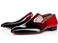 Marka Kırmızı Alt Loafer'lar Parti Düğün Ayakkabı Tasarımcısı SIYAH PATENT DERI Süet Elbise Ayakkabı Daireler Üzerinde Kayma Mens Oxford Walkin çivili ayakkabı