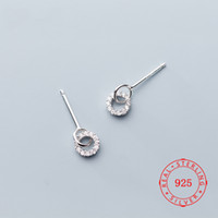 Vintage Beauty Earrings 925 Sterling Silver Circle Stud Earr...