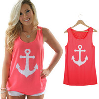 Fashion Women Anchor Casual Fancy Sleeveless Tee Bowknot Summer Simple Vest Tank T-Shirt sexy Party
