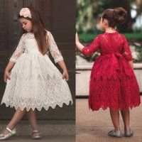 2019 Spring Girls Lace princess Dresses Medium Sleeve Ribbon...