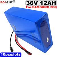 Batería de litio eléctrica 10pcs / lot 10S 36v al por mayor para Samsung 30Q 18650 celular 36v 12ah 250w batería de bicicleta eléctrica + 15A BMS