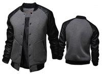 Tek Breasted Erkek Dış Giyim Erkek ceketler Yaka Uzun Standı Kol Baseballl Erkek Palto Spor Kasetli Deri