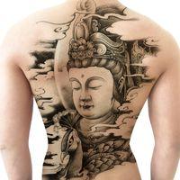 Гуаньинь Будда статуя Будды обратно полный назад татуировки наклейки водонепроницаемый мужчин и женщин прочные моделирования татуировки наклейки