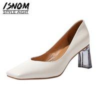 ISNOM Elegante Frauen-Pumpen-echte Leder-Schuh-Frauen-quadratische Zehe Solide Dickes-Absatz-Pumpen-Damen-Kleid-Schuh-Gleiter-Beweis