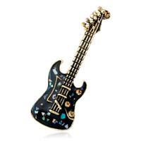 Émail Nacre Guitare Forme Broche Cristal Music Club Badge Costume épinglettes Musicien Cadeaux Broches
