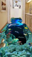 사용자 정의 3D 바닥 벽지 현대 미술 강 돌 욕실 바닥 벽화 돌고래 PVC 자체 접착 벽지 방수 벽화
