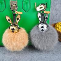 Çanta Charm Sıcak Satılık Yeni Hediye Sevimli Tavşan Charm Real Fox Kürk Topu Kabarık Anahtarlık Araba Anahtarlık Ring kolye
