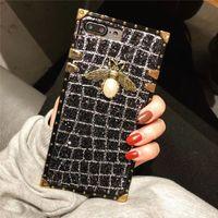 Роскошный Стильный Bling Блеск 3D Pearl Bee Квадратная Полоса Задняя Крышка Shell Мерцающая Решетка для Телефона Чехол для Телефона для iPhone X 7 6 8