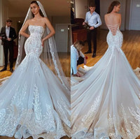 2019 Sexy Mermaid Wedding Dresses Strapless Lace Appliqued L...