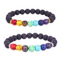 Mode Natural Lava Rock bracelets 7 charme de pierre de chakra huile essentielle diffuseur perles chaîne bracelet pour femmes hommes à la main bijoux en vrac