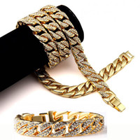 Mens Hip Hop Schmuck Sets Cuban Link-Ketten-Halskette Bling Bling Iced Out volle Diamant-Halsketten-Armband 15mm 75cm 21.5cm