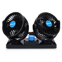 12 V Elektrikli Araba Fanı 360 Derece Dönebilen 2 Hız Çift Kafa Araba Oto Van SUV RV için Otomatik Hava Soğutma Fanı Ç ...