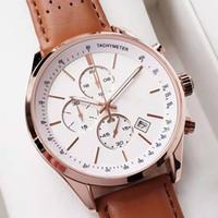 고급 44mm 남성용 시계 모든 포인터 작업 크로노 그래프 쿼츠 시계 가죽 보스 비즈니스 방수 디자이너 시계
