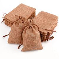 10Pcs / lot mini iuta della tela da coulisse Borse favori di nozze regalo di Natale partito dei monili di sacco di iuta Sacchetti di imballaggio Storage Bag