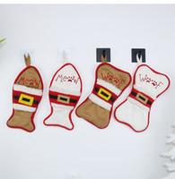 Knochen Fisch Weihnachtsbaum Anhänger Dekoration Weihnachten Socken Geschenk Tasche in Messer und Gabel Sets Party Dekoration XD20287