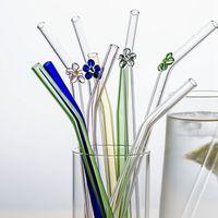 Palhas de beber MDZF Sweethome 4 pc Flor de vidro palha com escova de limpeza Reutiliz copo de pedreiro cocktail curvo acessórios de bar