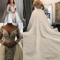 2020 Sexy Meerjungfrau Brautkleider Kristall Perlen Spitze Illusion Langarm Abnehmbare Zug Braut Kleider Braut Kleid Maßgeschneiderte Hochzeitskleid