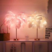 Yaratıcı Tüy Masa Lambası Sıcak Beyaz Işık Ağacı Tüy Lampshade Kız LED Düğün Dekoratif Işıklar Pembe Beyaz Doğum Günü Hediyesi