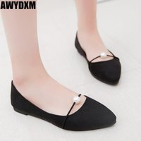 Women shoes spring summer new Pointed pearl flats ladies sha...