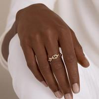 Mode-Designs ausschneiden drei geschichtete Kettenringe Multi-Link Unregelmäßige offene Ringe für Frauen minimalistische Ringe einstellbar 2020