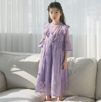 INS Girls lace gauze floral embroidery long dress children V...