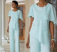 2019 nouvelle menthe mère de la mariée robes mariage invité robe soie mousseline de soie à manches courtes à plusieurs niveaux mère de mariée pantalon costumes fait sur mesure