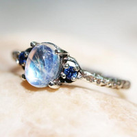 MDNEN Vintage White Moonstone Antique Silver Ring Blue Cryst...