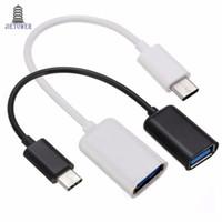 100pcs / lot 16,5 cm Mini blanc / noir Adaptateur de câble de type C USB 3.1 Type-C mâle à USB 2.0 A femelle OTG Câble de câble adaptateur