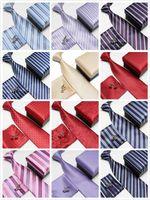 Alta calidad de seda pañuelos de cuello lazos de poliéster Ascot gemelos conjunto de la corbata del lazo de los hombres de rayas torre de bolsillo cuadrados 21 opciones de los colores