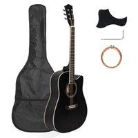 41 Inç Tam Boyutlu Kesit Akustik Gitar 20 Frets Öğrenciler için Acemi Seti Yetişkin Çanta Kapak Anahtarı Dizeleri Siyah