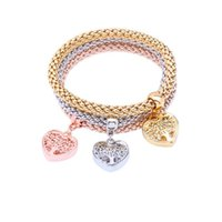 Pulsera pendiente del encanto del corazón de cristal de color rosa para las mujeres estiramiento gruesa pulsera de la aleación del regalo de la joyería nuevo estilo