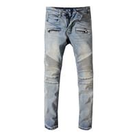 Mens gefaltetes dünnes Light Blue Jeans-Modedesigner-Falten Panelled Zipper Slim Fit Motorradfahrer Hip Hop-Denim-Hosen 1051