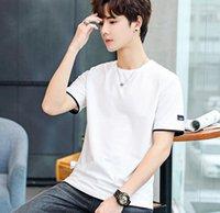Moda Şort Kol Tshirts Yaz Casual Erkek Mürettebat Boyun Basit Katı Renk Mens Tasarımcısı Tshirts panelli Tops