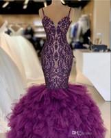 Sirena morada Vestidos de baile con correas espaguetis Falda de tul y encaje Celebrity Vestido de noche Largo del piso Vestidos de fiesta sexy 2K19