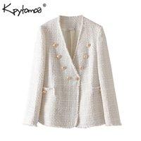 Vintage Stilvolle Zweireiher ausgefranste Tweed-Jacken-Mantel Frauen 2020 Mode-Langarmshirt Damen-Oberbekleidung beiläufige Casaco Femme
