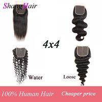 BrazilianRemy el pelo humano recto Cierre Cierre Loose Lace Virgen 4x4 Bello corporal Deep Water cordón de la onda del pelo profundo 1/2 / 4pcs