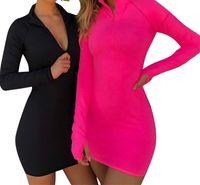 2019 donne guaina estate mini sexy Slim Fit-shirt con cappuccio Zip Up Baggy Top Jumper Dress Pullover