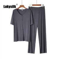 New Men Pajamas Sets Summer Autumn Knit Modal Cotton Casual ...