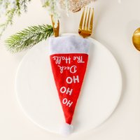 4 disegni di Natale forcella Lama Borse Mini Santa Cap forcella Lama Copertina Christmas Dinner Table Decoration 200 Pezzi DHL