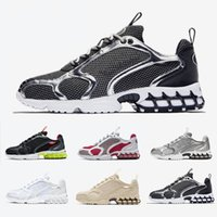 Nike Air Zoom Spiridon Caged Stock X Stussy X Spiridon Caged Mens running shoes Lemon Venom Cardinal Red Metallic Silver Pure Platinum men women sports designer sneakers