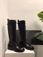 Kadın Ann Boots Siyah Hakiki Deri Demeulemeester Dantel-up Cizme Diz yüksek Yan Zip Defilesi Podyum Lüks Yeni Ayakkabı