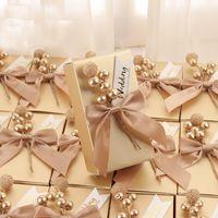 Пользовательское название Gold Square Wedding Box коробка шоколадные держатели вечеринка конфеты коробки свадебный душ младенца день рождения фестиваль пакет оптовых