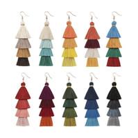 Orecchini lunghi in cristallo di nappa di Boemia di moda Orecchini in nappa di seta bianca rossa Orecchini pendenti con nappa per donna 2019 Gioielli