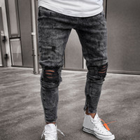 FeiTong Jeans Men Top Uomo Abbigliamento Skinny Stretch denim pantaloni Distressed Strappato Freyed slim fit Jeans di Male
