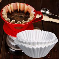 50 unids / set 24 cm filtros de café blanco de una sola porción de papel para la máquina de café filtro de papel taza de pastel taza de papel filtro de café
