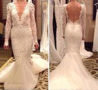 VESTIDO DE NOIVA Deep scollo a V manica lunga abiti da sposa sirena backless 2020 Dubai pizzo abito da sposa abito da sposa abito da sposa