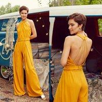 Yellow Jumpsuits Abendkleider Neckholder wulstiger Schärpe Gürtel ärmelAbendKleider mit Rüschen Fußboden Länge nach Maß formale Partei-Kleider