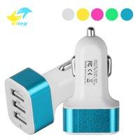 Adaptador cargador Vitog cargador de coche universal de 3 puertos USB cargadores de batería de coche de cigarrillos del automóvil para los teléfonos inteligentes de Samsung